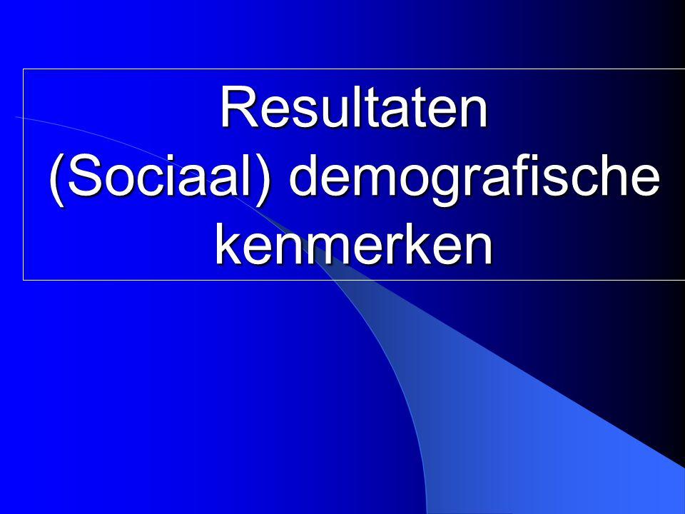Resultaten (Sociaal) demografische kenmerken