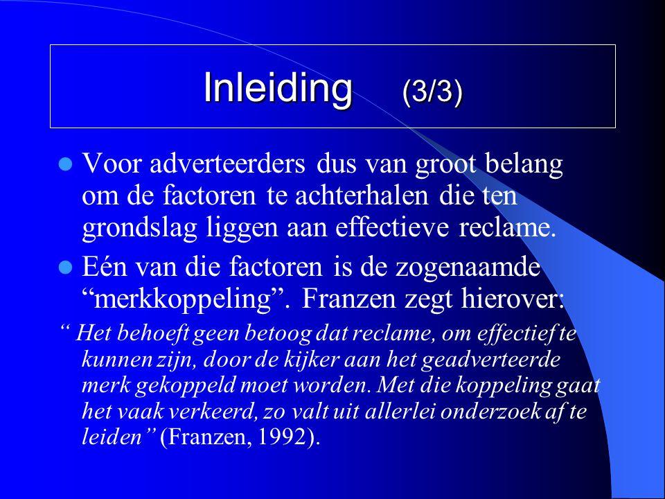Inleiding (3/3)  Voor adverteerders dus van groot belang om de factoren te achterhalen die ten grondslag liggen aan effectieve reclame.  Eén van die