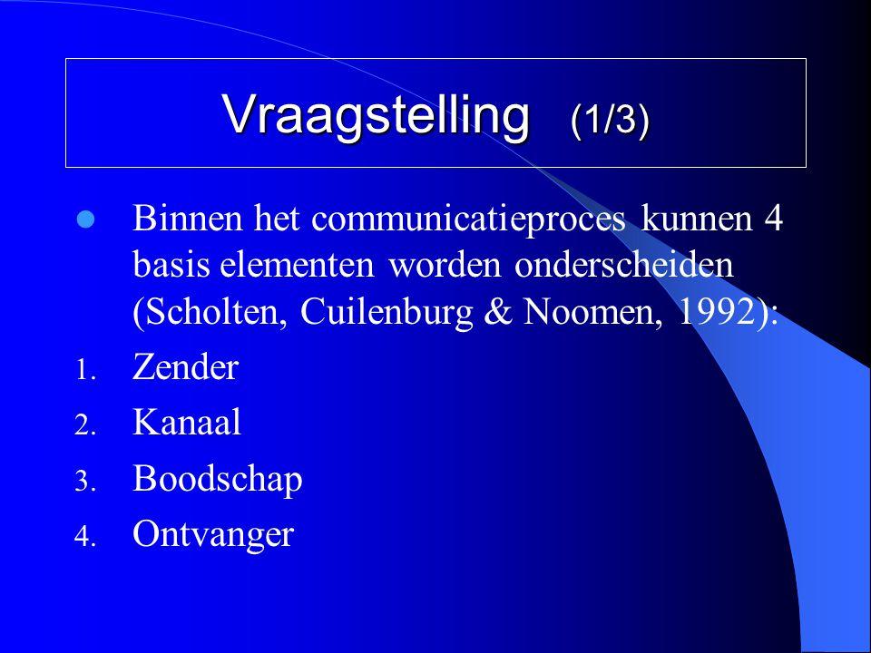 Vraagstelling (1/3)  Binnen het communicatieproces kunnen 4 basis elementen worden onderscheiden (Scholten, Cuilenburg & Noomen, 1992): 1. Zender 2.