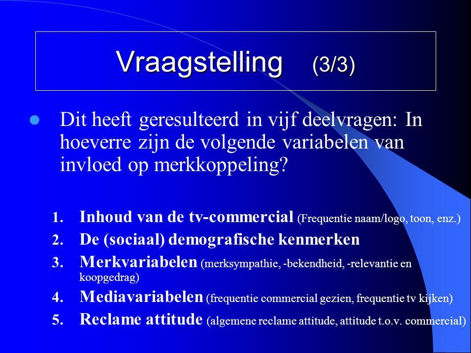 Vraagstelling (3/3)  Dit heeft geresulteerd in vijf deelvragen: In hoeverre zijn de volgende variabelen van invloed op merkkoppeling? 1. Inhoud van d