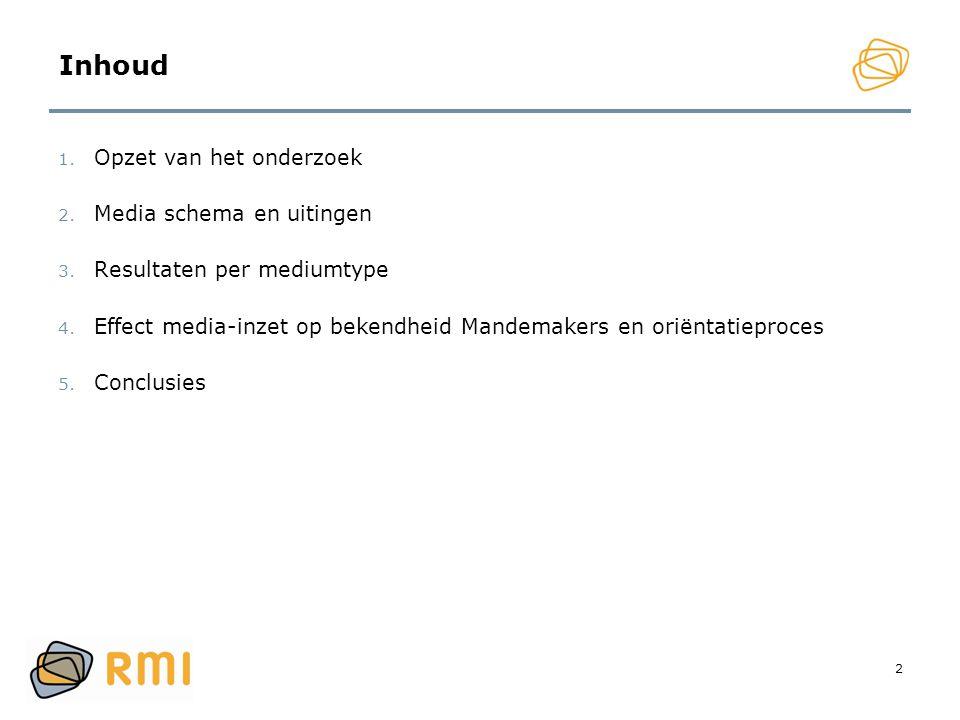 2 Inhoud 1. Opzet van het onderzoek 2. Media schema en uitingen 3. Resultaten per mediumtype 4. Effect media-inzet op bekendheid Mandemakers en oriënt
