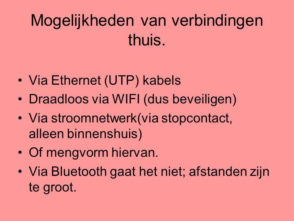 Mogelijkheden van verbindingen thuis. •Via Ethernet (UTP) kabels •Draadloos via WIFI (dus beveiligen) •Via stroomnetwerk(via stopcontact, alleen binne
