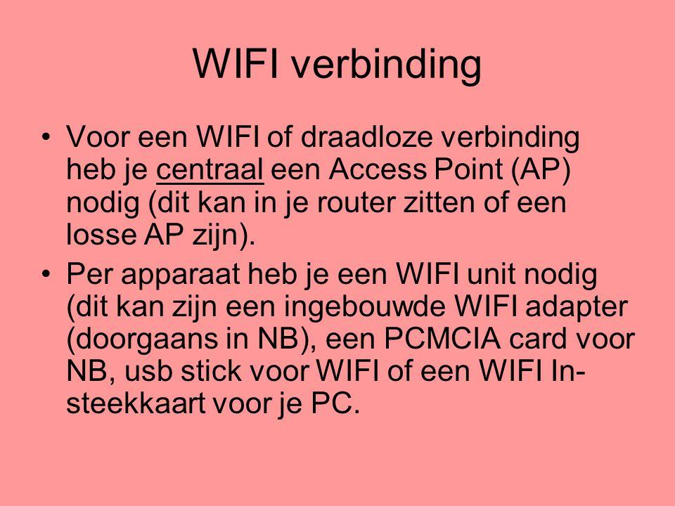 WIFI verbinding •Voor een WIFI of draadloze verbinding heb je centraal een Access Point (AP) nodig (dit kan in je router zitten of een losse AP zijn).
