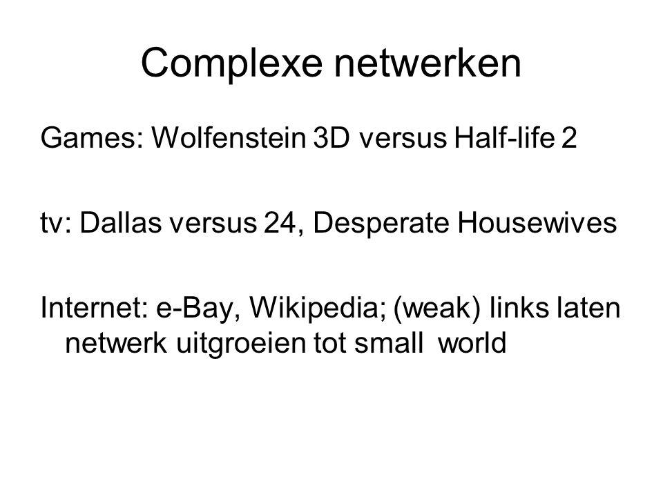 Complexe netwerken Games: Wolfenstein 3D versus Half-life 2 tv: Dallas versus 24, Desperate Housewives Internet: e-Bay, Wikipedia; (weak) links laten