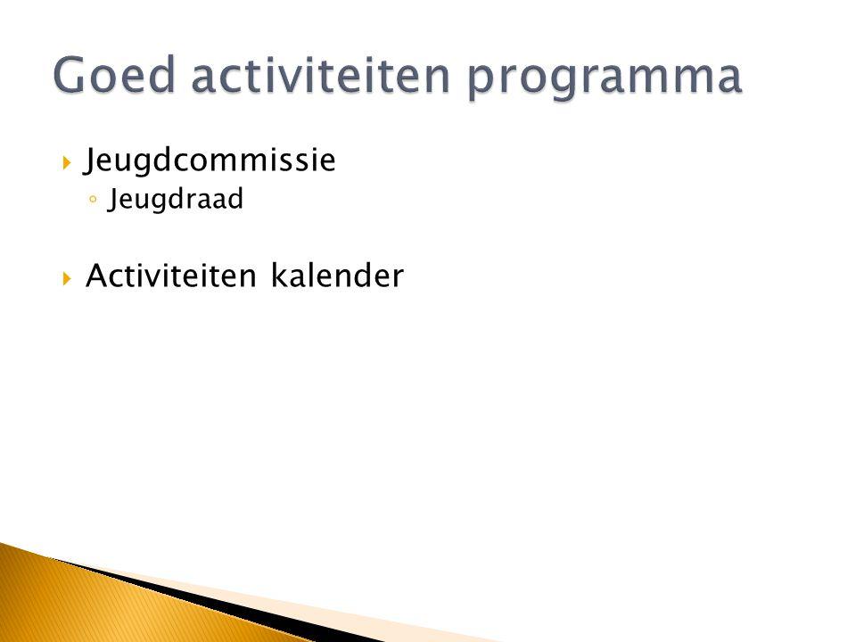  Tenniskids ◦ Instroomtraining: Kabouter tennis ◦ Rood – Oranje – Groen – (Geel)  Reguliere trainingen ◦ 1 uur – 1,5 uur ◦ 1 of 2 keer per week ◦ In