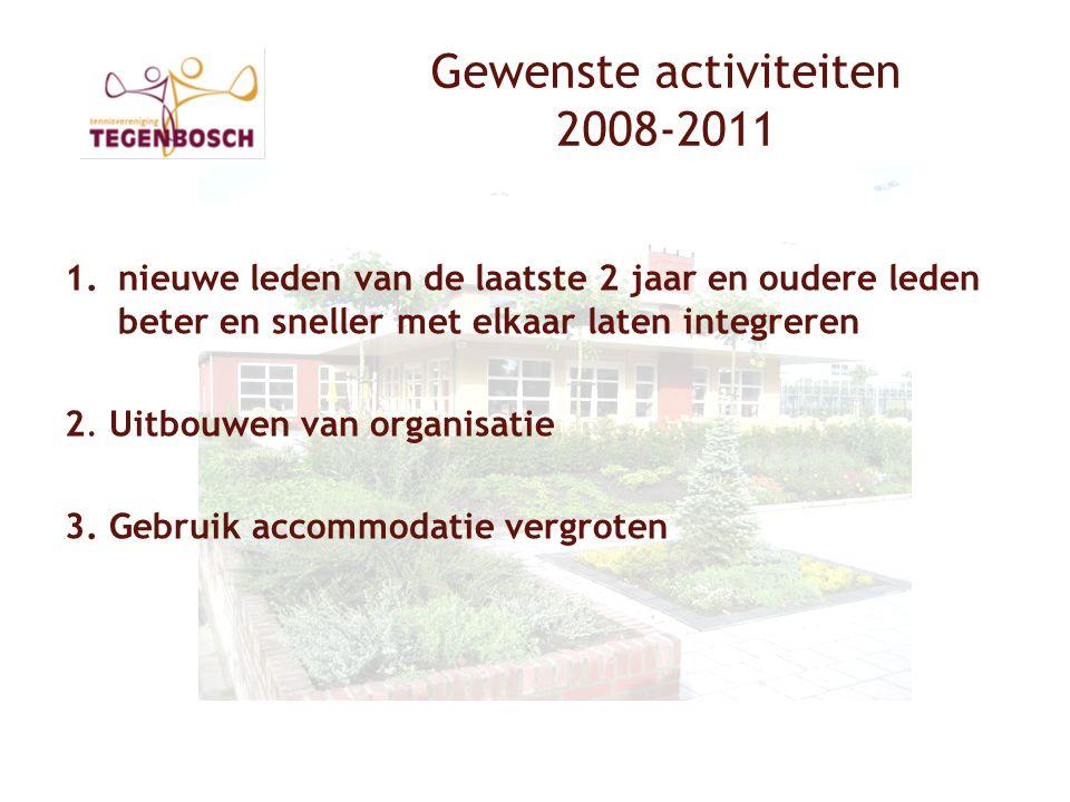 Gewenste activiteiten 2008-2011 1.nieuwe leden van de laatste 2 jaar en oudere leden beter en sneller met elkaar laten integreren 2.