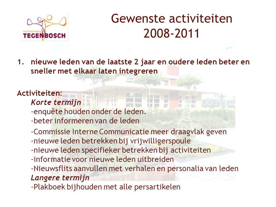 Gewenste activiteiten 2008-2011 1.nieuwe leden van de laatste 2 jaar en oudere leden beter en sneller met elkaar laten integreren Activiteiten: Korte termijn -enquête houden onder de leden.