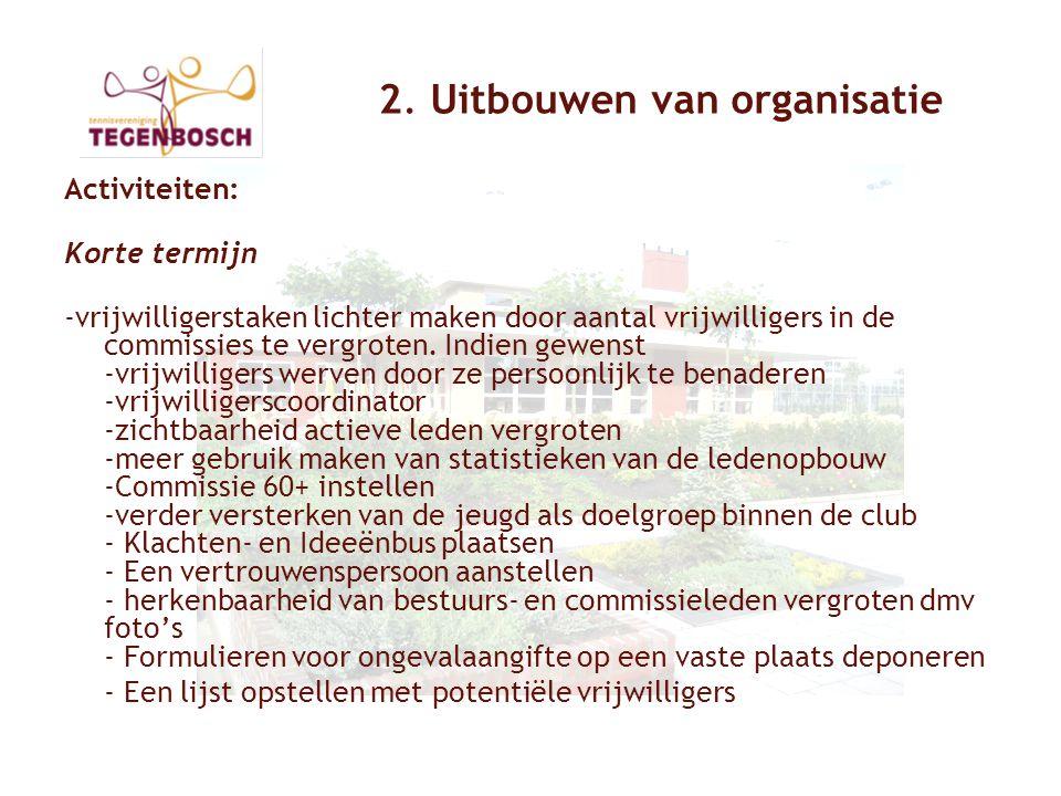 2. Uitbouwen van organisatie Activiteiten: Korte termijn -vrijwilligerstaken lichter maken door aantal vrijwilligers in de commissies te vergroten. In
