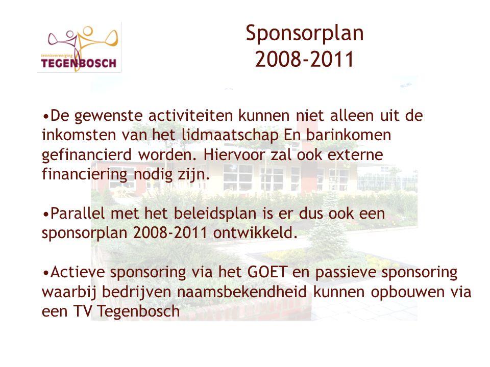 Sponsorplan 2008-2011 •De gewenste activiteiten kunnen niet alleen uit de inkomsten van het lidmaatschap En barinkomen gefinancierd worden.