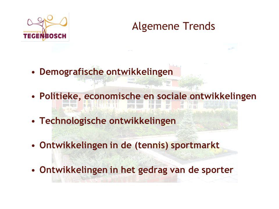 Algemene Trends •Demografische ontwikkelingen •Politieke, economische en sociale ontwikkelingen •Technologische ontwikkelingen •Ontwikkelingen in de (tennis) sportmarkt •Ontwikkelingen in het gedrag van de sporter