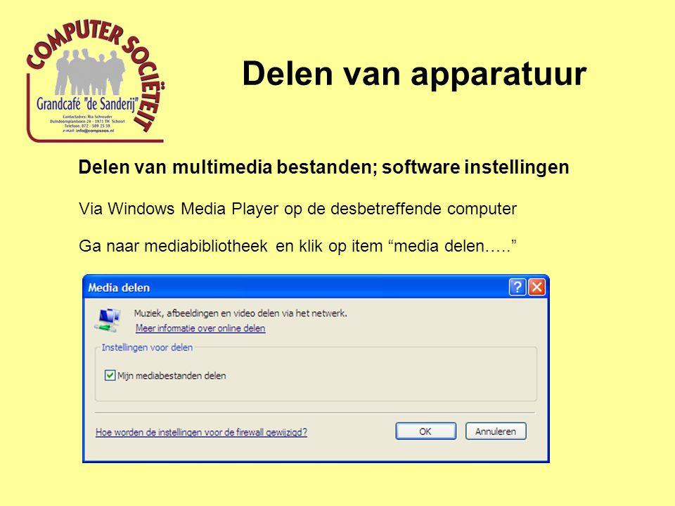 Delen van apparatuur Delen van multimedia bestanden; software instellingen Via Windows Media Player op de desbetreffende computer Ga naar mediabibliotheek en klik op item media delen…..