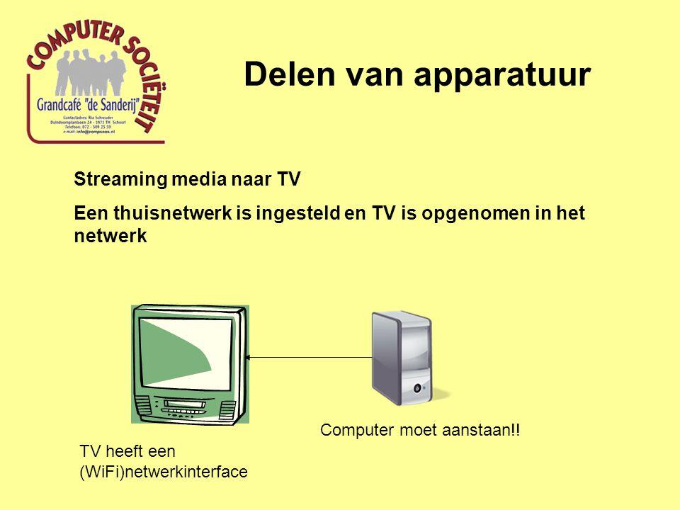 Delen van apparatuur Streaming multimedia naar TV; software instellingen Installeer Media Center software op de computer • Windows Media Center (of Windows Media Player) • XBMC • Boxee • ……..