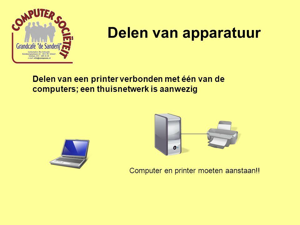 Delen van apparatuur Delen van een printer; software instellingen Selecteer printer en klik rechtermuisknop Klik met linkermuisknop op Delen….
