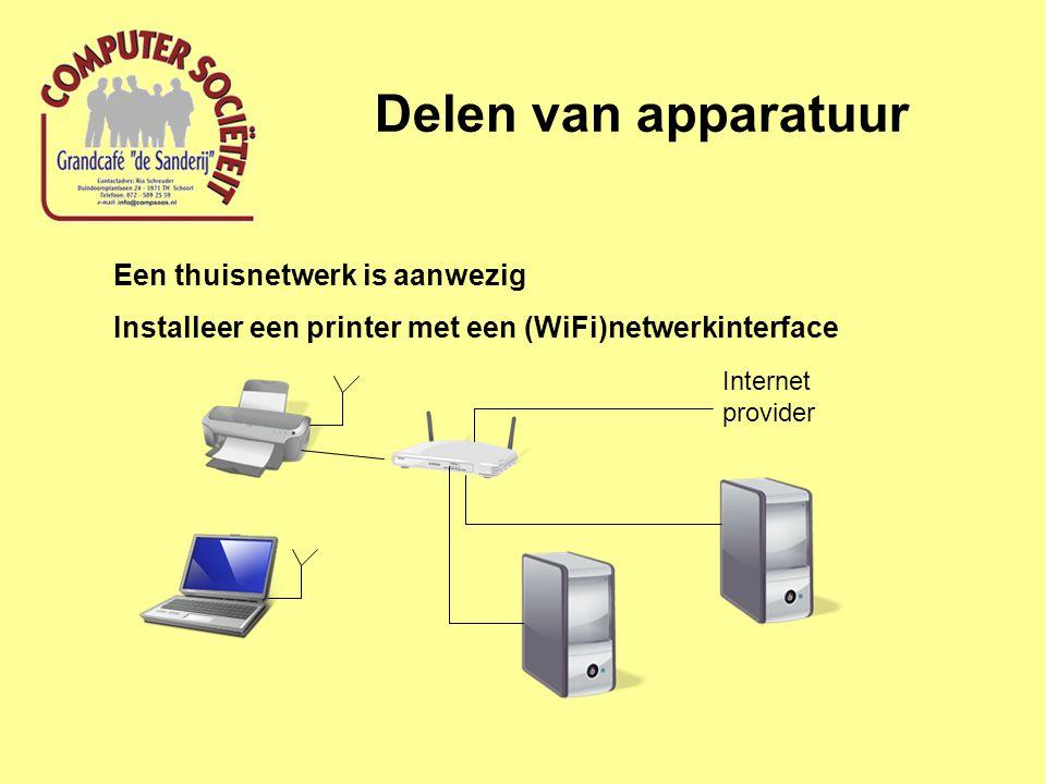Delen van apparatuur Een thuisnetwerk is aanwezig Installeer een printer met een (WiFi)netwerkinterface Internet provider