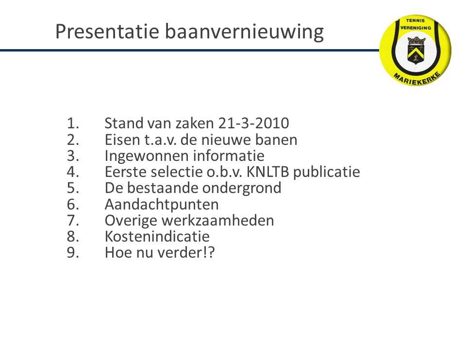 Presentatie baanvernieuwing 1.Stand van zaken 21-3-2010 2.Eisen t.a.v. de nieuwe banen 3.Ingewonnen informatie 4.Eerste selectie o.b.v. KNLTB publicat