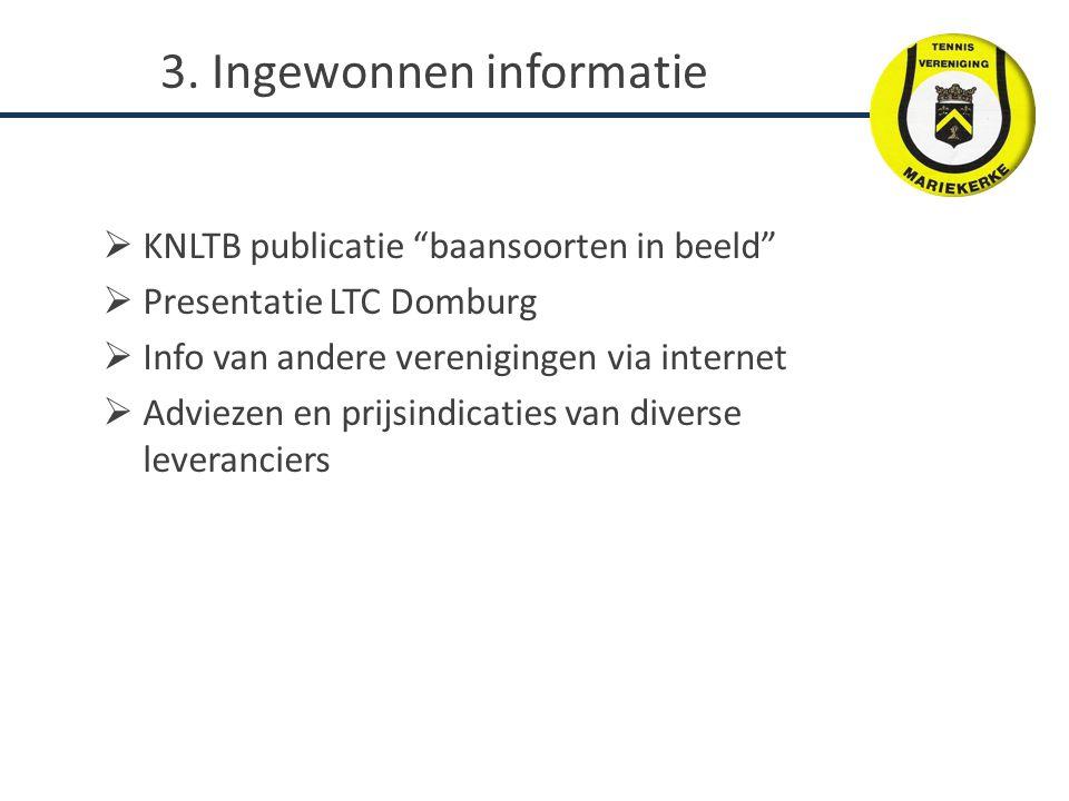  KNLTB publicatie baansoorten in beeld  Presentatie LTC Domburg  Info van andere verenigingen via internet  Adviezen en prijsindicaties van diverse leveranciers 3.