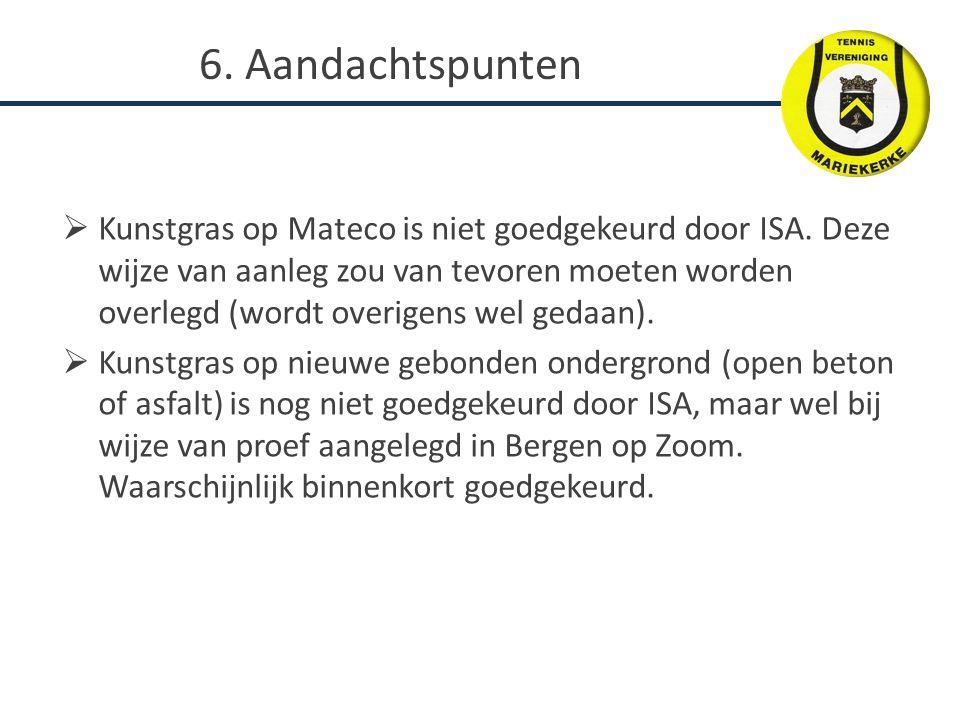  Kunstgras op Mateco is niet goedgekeurd door ISA. Deze wijze van aanleg zou van tevoren moeten worden overlegd (wordt overigens wel gedaan).  Kunst