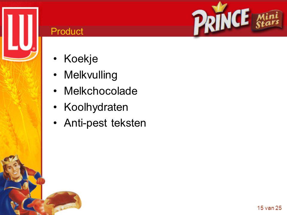 15 van 25 Product •Koekje •Melkvulling •Melkchocolade •Koolhydraten •Anti-pest teksten