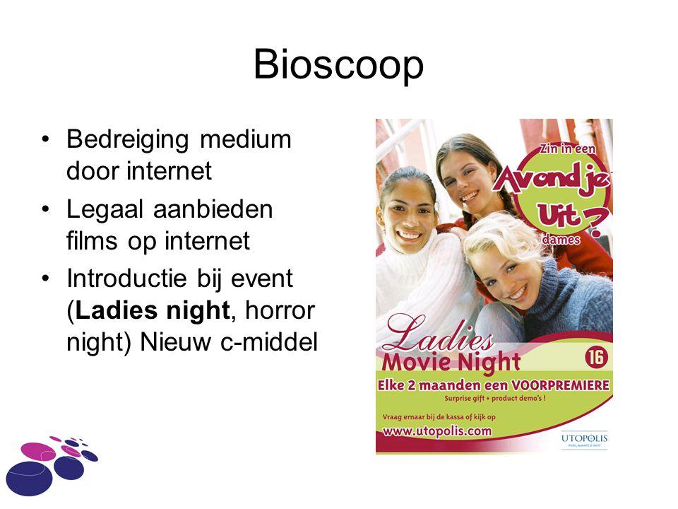 Bioscoop •Bedreiging medium door internet •Legaal aanbieden films op internet •Introductie bij event (Ladies night, horror night) Nieuw c-middel