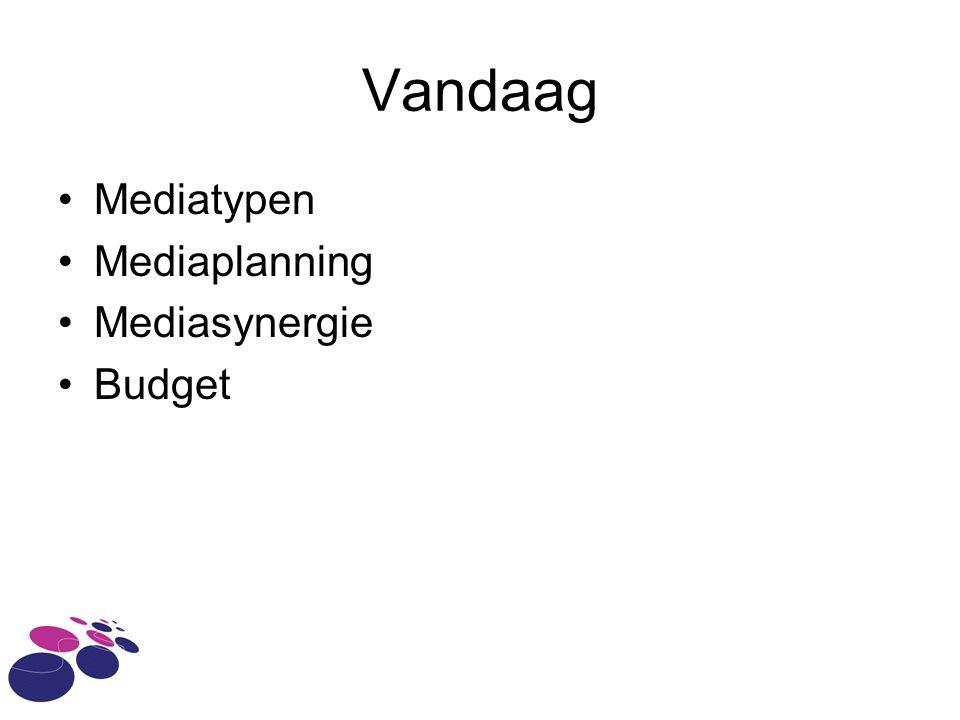 Vandaag •Mediatypen •Mediaplanning •Mediasynergie •Budget