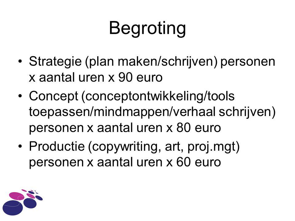 Begroting •Strategie (plan maken/schrijven) personen x aantal uren x 90 euro •Concept (conceptontwikkeling/tools toepassen/mindmappen/verhaal schrijven) personen x aantal uren x 80 euro •Productie (copywriting, art, proj.mgt) personen x aantal uren x 60 euro