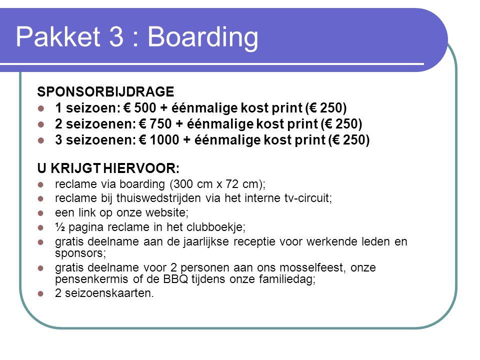 Pakket 3 : Boarding SPONSORBIJDRAGE  1 seizoen: € 500 + éénmalige kost print (€ 250)  2 seizoenen: € 750 + éénmalige kost print (€ 250)  3 seizoene