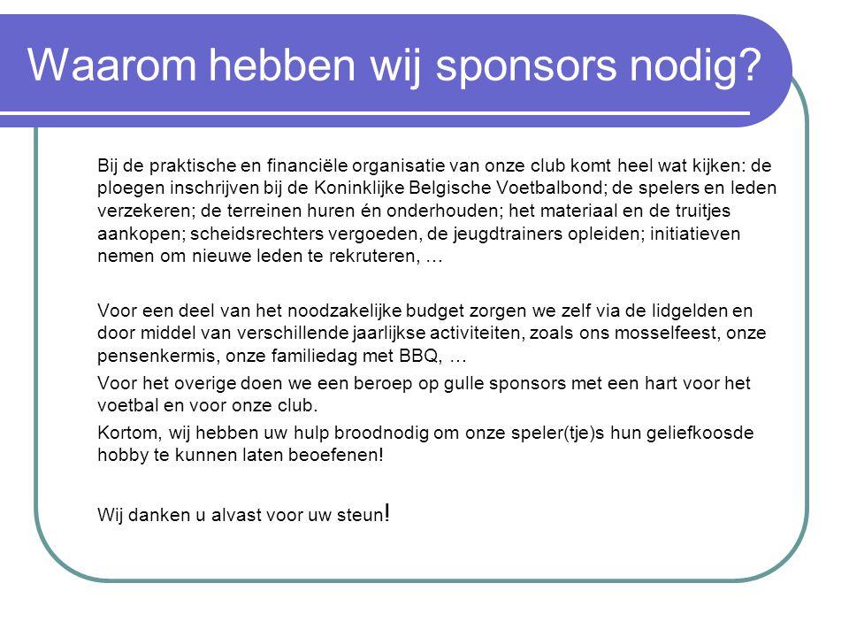 Wat kunnen wij onze sponsors bieden.