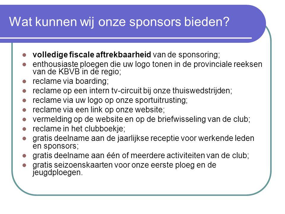 Wat kunnen wij onze sponsors bieden?  volledige fiscale aftrekbaarheid van de sponsoring;  enthousiaste ploegen die uw logo tonen in de provinciale