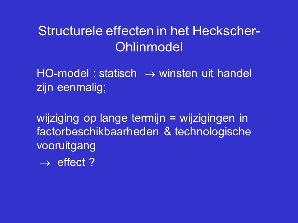 Structurele effecten in het Heckscher- Ohlinmodel HO-model : statisch  winsten uit handel zijn eenmalig; wijziging op lange termijn = wijzigingen in