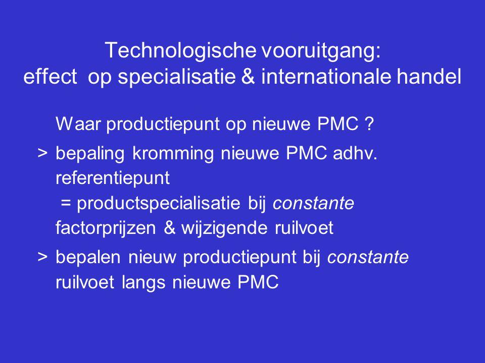 Technologische vooruitgang: effect op specialisatie & internationale handel Waar productiepunt op nieuwe PMC ? >bepaling kromming nieuwe PMC adhv. ref