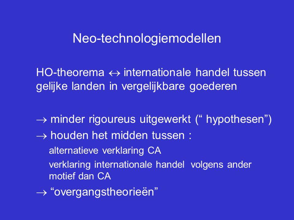 """Neo-technologiemodellen HO-theorema  internationale handel tussen gelijke landen in vergelijkbare goederen  minder rigoureus uitgewerkt ("""" hypothese"""