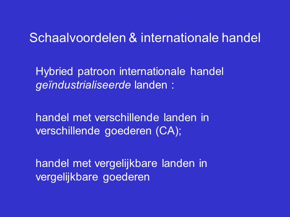 Schaalvoordelen & internationale handel Hybried patroon internationale handel geïndustrialiseerde landen : handel met verschillende landen in verschil