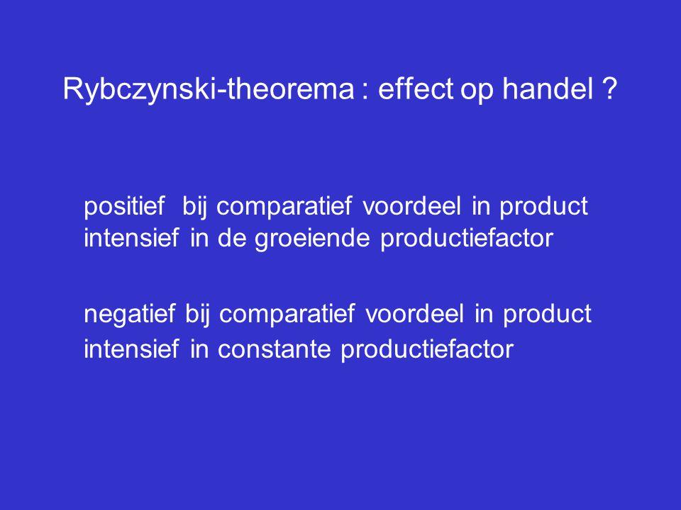 Rybczynski-theorema : effect op handel ? positief bij comparatief voordeel in product intensief in de groeiende productiefactor negatief bij comparati
