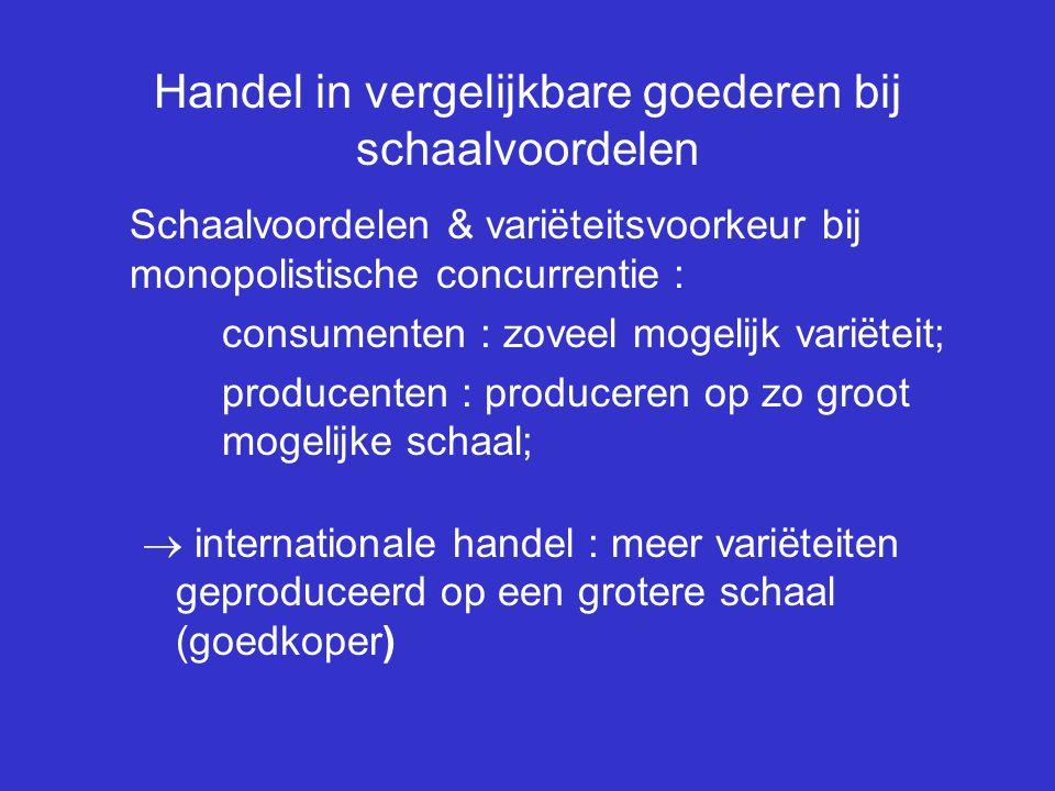Handel in vergelijkbare goederen bij schaalvoordelen Schaalvoordelen & variëteitsvoorkeur bij monopolistische concurrentie : consumenten : zoveel moge
