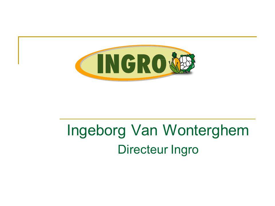 Wie zit in Ingro  Erkenning: groenten bestemd voor verwerking  CVBA  Leden = aandeelhouders  1 aandeel = 25 €  3 oprichtende partners  Boerenbond  Algemeen Boeren Syndicaat  REO Veiling