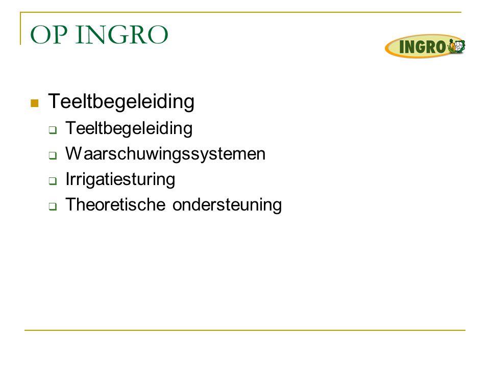 OP INGRO  Teeltbegeleiding  Teeltbegeleiding  Waarschuwingssystemen  Irrigatiesturing  Theoretische ondersteuning
