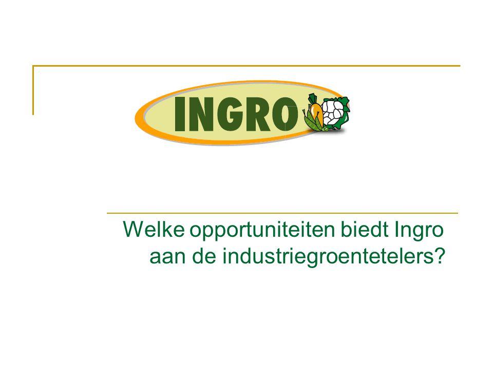 Opportuniteiten voor de industriegroenteteler  Ingro garandeert vrijheid van levering  Europese middelen benutten  Telers worden volwaardige gesprekspartner