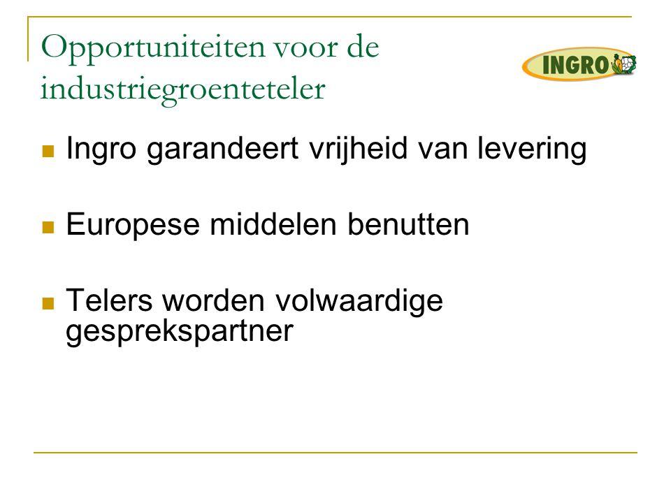 Opportuniteiten voor de industriegroenteteler  Ingro garandeert vrijheid van levering  Europese middelen benutten  Telers worden volwaardige gespre