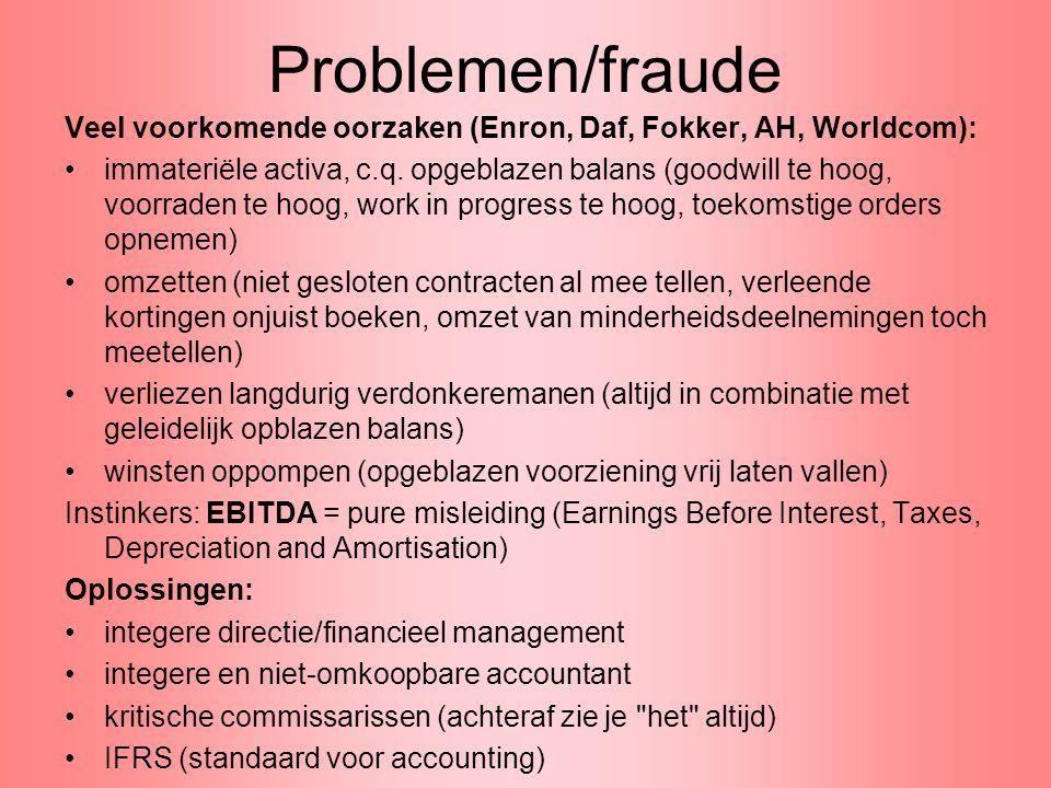 Problemen/fraude Veel voorkomende oorzaken (Enron, Daf, Fokker, AH, Worldcom): •immateriële activa, c.q. opgeblazen balans (goodwill te hoog, voorrade