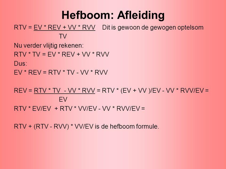 Hefboom: Afleiding RTV = EV * REV + VV * RVV Dit is gewoon de gewogen optelsom TV Nu verder vlijtig rekenen: RTV * TV = EV * REV + VV * RVV Dus: EV *