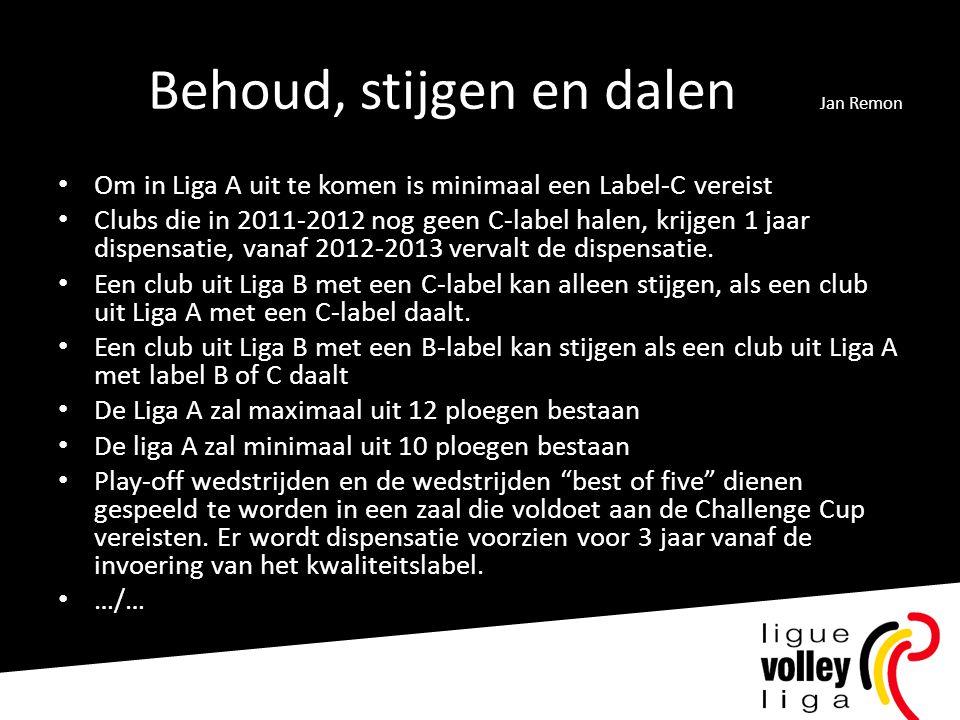 Behoud, stijgen en dalen Jan Remon • Om in Liga A uit te komen is minimaal een Label-C vereist • Clubs die in 2011-2012 nog geen C-label halen, krijgen 1 jaar dispensatie, vanaf 2012-2013 vervalt de dispensatie.