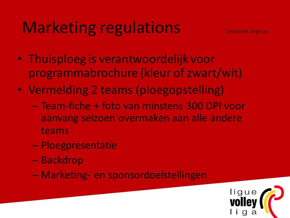 Marketing regulations Diederiek Degryse • Thuisploeg is verantwoordelijk voor programmabrochure (kleur of zwart/wit) • Vermelding 2 teams (ploegopstel