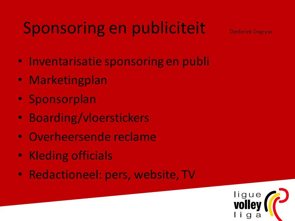 Sponsoring en publiciteit Diederiek Degryse • Inventarisatie sponsoring en publi • Marketingplan • Sponsorplan • Boarding/vloerstickers • Overheersend
