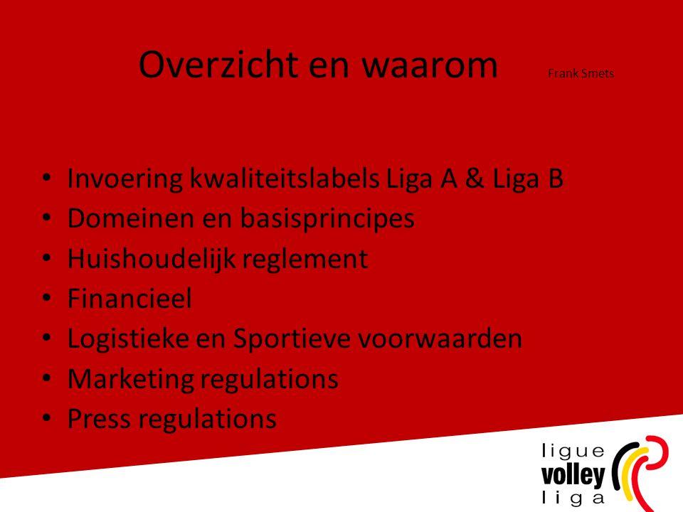 Overzicht en waarom Frank Smets • Invoering kwaliteitslabels Liga A & Liga B • Domeinen en basisprincipes • Huishoudelijk reglement • Financieel • Log