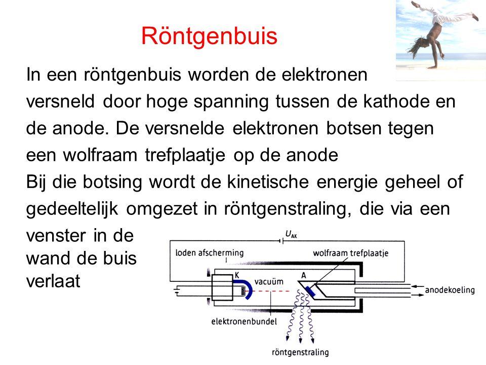 Röntgenbuis In een röntgenbuis worden de elektronen versneld door hoge spanning tussen de kathode en de anode. De versnelde elektronen botsen tegen ee