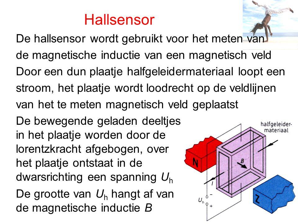 Hallsensor De hallsensor wordt gebruikt voor het meten van de magnetische inductie van een magnetisch veld Door een dun plaatje halfgeleidermateriaal