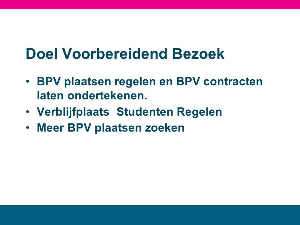 Doel Voorbereidend Bezoek •BPV plaatsen regelen en BPV contracten laten ondertekenen. •Verblijfplaats Studenten Regelen •Meer BPV plaatsen zoeken MBO
