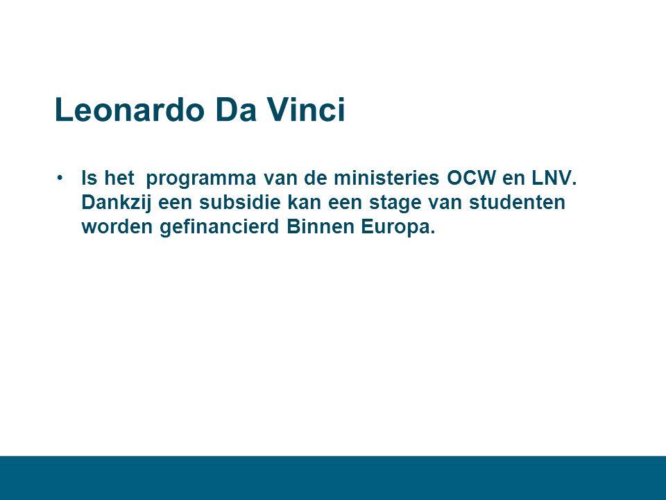 Leonardo Da Vinci •Is het programma van de ministeries OCW en LNV. Dankzij een subsidie kan een stage van studenten worden gefinancierd Binnen Europa.
