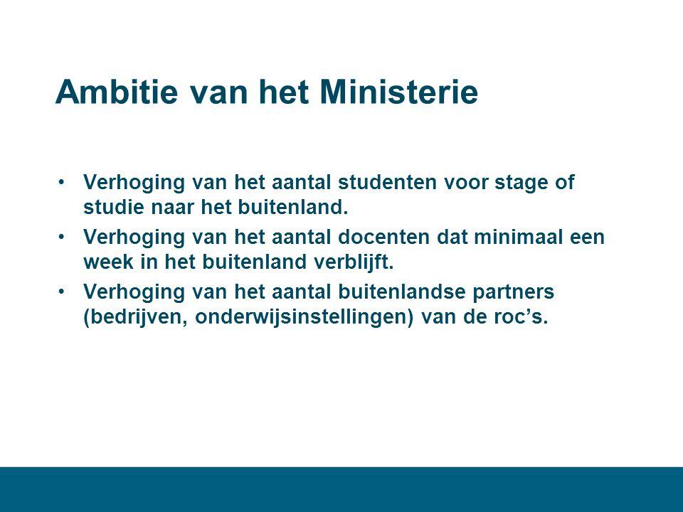 Ambitie van het Ministerie •Verhoging van het aantal studenten voor stage of studie naar het buitenland. •Verhoging van het aantal docenten dat minima