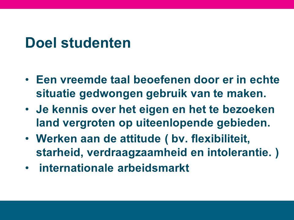 Doel studenten •Een vreemde taal beoefenen door er in echte situatie gedwongen gebruik van te maken. •Je kennis over het eigen en het te bezoeken land